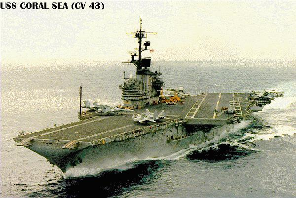 'Coral Sea1_b@b_1sea in her final configuration, early 1989.' from the web at 'http://www.hazegray.org/navhist/carriers/coralsea/coral01.jpg'