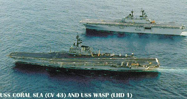 'Coral Sea and USS Wasp (LHD 1)1_b@b_1the end of Coral  Maru's final deployment, 28 September 1989.' from the web at 'http://www.hazegray.org/navhist/carriers/coralsea/coral02.jpg'