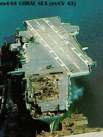 'Ex-Coral Sea early in the scrapping process, 4 October 1993.' from the web at 'http://www.hazegray.org/navhist/carriers/coralsea/coral03.jpg'