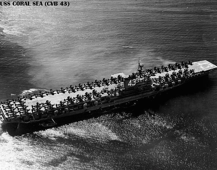 'Another overhead view, showing the size of the intial air wing.' from the web at 'http://www.hazegray.org/navhist/carriers/coralsea/coral10.jpg'