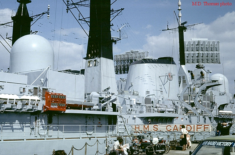 The aft Type 909 tracker is under the dome to the left, and the 8-barrelled  Corvus launcher is visible at the base of the mast.