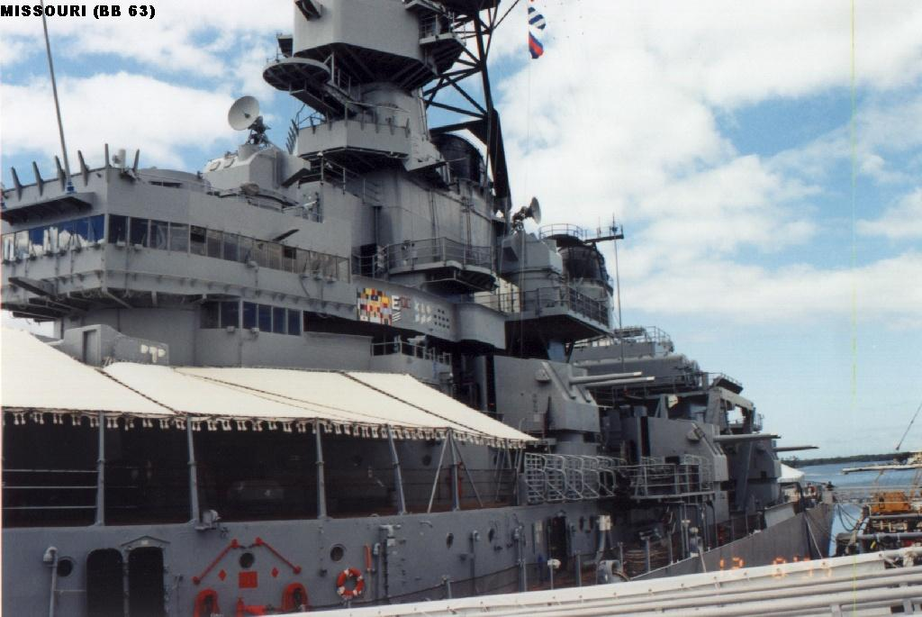 World Battleships List Photo Gallery: Missouri at Pearl Harbor
